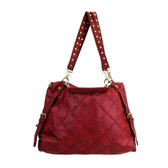 Large red shoulder bag.