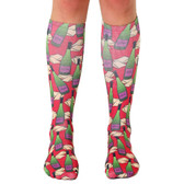 Men's or Women's Knee High Socks Wine Bottles