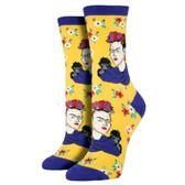 Women's Crew Socks Frida Kahlo Portrait Sundrop Yellow