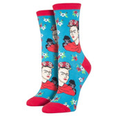 Women's Crew Socks Frida Kahlo Portrait Peacock Turquoise Blue