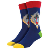 Men's Crew Socks Mind Your Mandrills Baboon Monkey Navy Blue