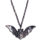 Bat Charm Antiqued Silver Plated Necklace