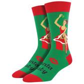 Men's Crew Socks Christmas Holiday Santa Baby Pin Up Girl