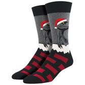 Men's Crew Socks Christmas Holiday Raptor Claus Dinosaur Grey