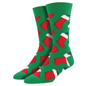 Men's Crew Socks Holiday Stocking Christmas Coal Green