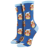 Women's Crew Socks Christmas Holiday Owls Ready For Winter Blue