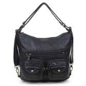 Convertible Crossbody Backpack Purse Black Vegan Leather Shoulder Bag