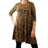 Women's Brown Leopard Print Long Sleeved Bohemian Tunic Top