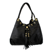 Black Purse Faux Leather Shoulder Bag with Gold Grommets