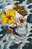 Day of the Dead Tiki by Marcos Villagran Tattoo Art Canvas Giclee Sugar Skull