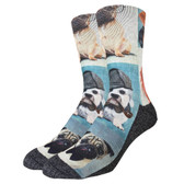 Men's Crew Socks Dashing Dogs Puppy Pugs and Friends Active Footwear