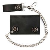 Men's Wallet Black Leather Biker Chain Trifold Silver Metal Iron Crosses