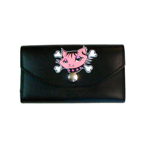 Women's Kitty with Crossbones Wallet Black Leather Checkbook Style Pocketbook