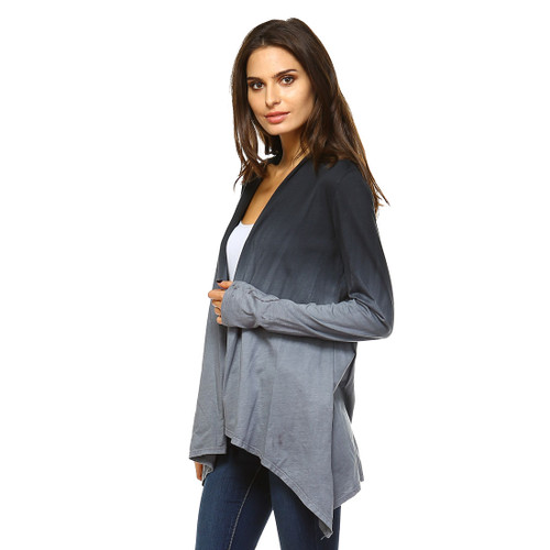 Women's Ruched Long Sleeve Ombre Dip Washed Cardigan w/ Large Lace Crochet Back Detail