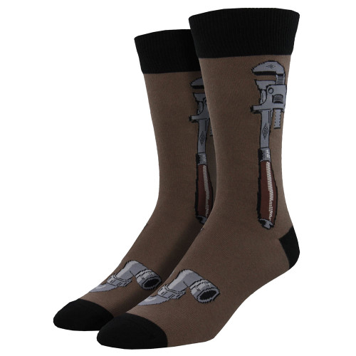 Men's Crew Socks Monkey Wrench Plumbing Handyman Tool Brown