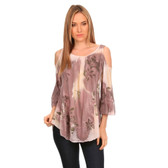Women's Abstract Floral Print 3/4 Sleeve Shirt with Cold Shoulder