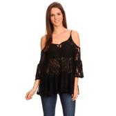 Women's Black Lace Cold Shoulder 3/4 Sleeve Shirt