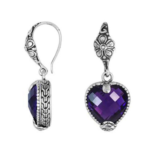 Amethyst Sterling Silver Heart Shape Dangle Earrings