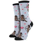 Women's Crew Socks Cupid Love Cherub Angels Light Blue