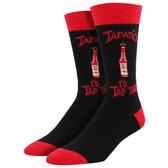Socksmith Men's Crew Socks Tapatio I'd Tap That Hot Sauce Black