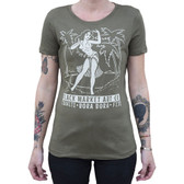 Polynesian Paradise Pin Up Hula Girl by Black Market Art Company Women's Military Green Tee Shirt