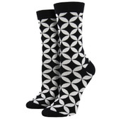 Women's Bamboo Crew Socks Circle Lock Black and White Collection