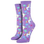 Women's Crew Socks Unicorns and Shooting Stars Bright Purple