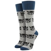 Women's Hiking Boot Crew Socks Outlands Owl Light Gray