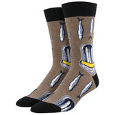 Men's Crew Socks Packed In Sardine Fish Heather Brown