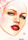 Ruby Lips by Cambria Canvas Giclee Tattoo Art Print Beautiful Woman