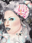 Starry Eyed by Cambria Canvas Giclee Tattoo Art Print Beautiful Woman with Butterfly's
