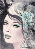 Winter by Cambria Canvas Giclee Tattoo Art Print Beautiful Woman