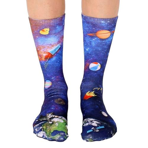 Unisex Men's or Women's Crew Socks Space Junk Planet Earth