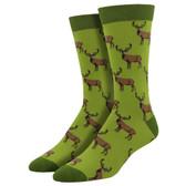 Men's Bamboo Crew Socks Stags Buck Male Deer Citron Green