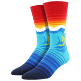 Socksmith Men's Crew Socks Catch A Wave Surfer Blue