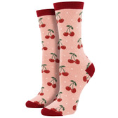 Women's Bamboo Crew Socks Cherry Blush