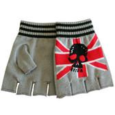 Union Jack Skull Grey Knitted Fingerless Gloves