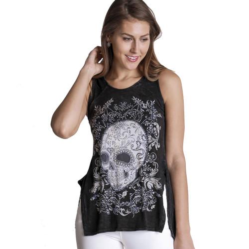 Women's VOCAL Skull Hi-Lo Black Tank Top with Crystal Rhinestone Detailing