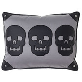 3 Skull Black and Gray Decorative Throw Pillow