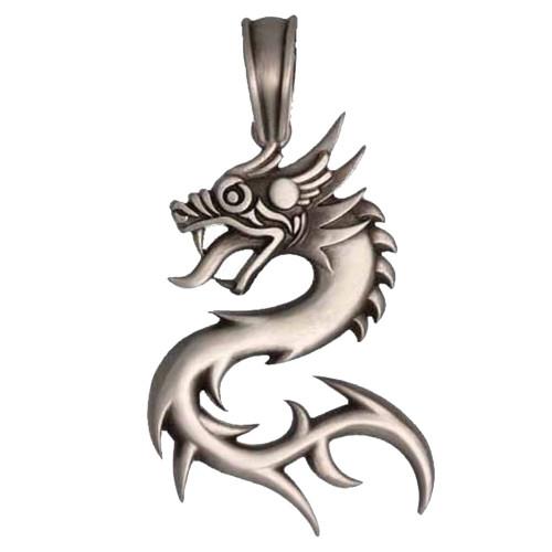 BICO Pacific Jewelry Pewter Pendant NUWA Dragon Tribal Surf Wear E308