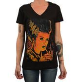 Monster Love by Mike Bell Women's Tattoo Art Tee Shirt Bride of Frankenstein