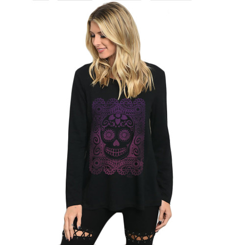 Papel Picado Sugar Skull Black Long Sleeve Shirt