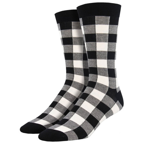 Men's Bamboo Crew Socks Buffalo Plaid Lumberjack Black and White