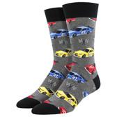 Men's Crew Socks Pit Stop Race Cars Grey