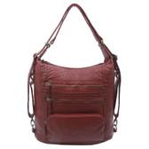 The Lisa Convertible Backpack Crossbody Purse Burgundy