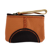 Small Brown and Tan Leather Coin Purse or Wristlet