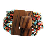 Orange Red Bronze Turquoise Cream Bali Bracelet Glass Beads Wood Buckle Elastic