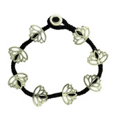 Lotus Flower Design Beaded Silver Alloy Bracelet Wrist Jewelry Waxed Linen Wristband