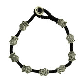 Owl Silver Alloy Bracelet Black Waxed Linen Wrist Jewelry Wristband