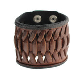 Brown Cuff Genuine Leather Bracelet Woven Detail